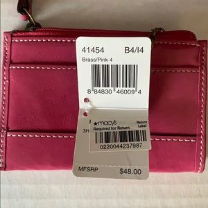 Coach mini skinny pink coin/ID case with key ring